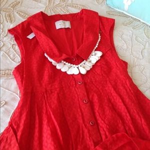 Anthropologie $138 Shirt dress red button down 2